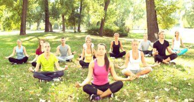 Cross legged 'earth salutation' yoga asana